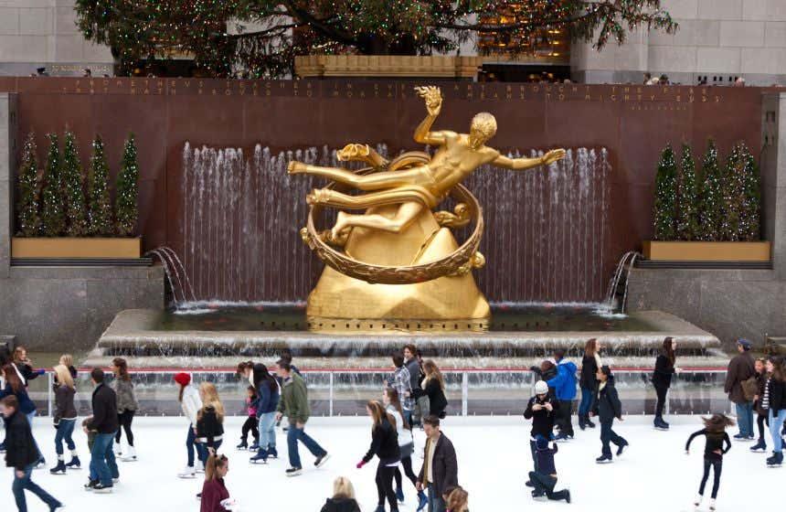Skaters on the Rockefeller Center Ice Rink