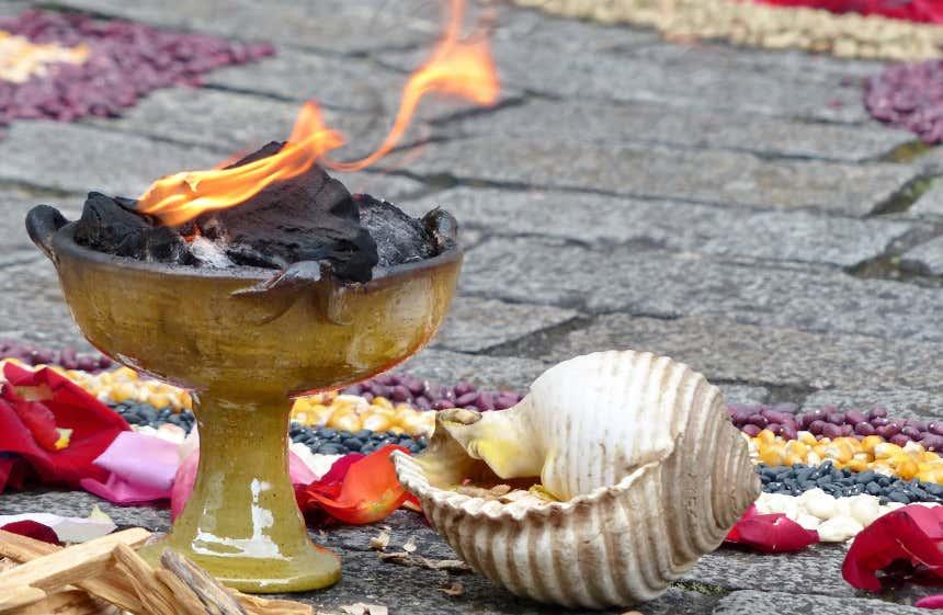Instrumentos ceremoniais para o ritual de Pagamento à Terra