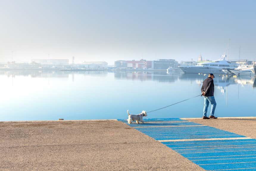 Hombre paseando a su perro en el Puerto de Valencia.