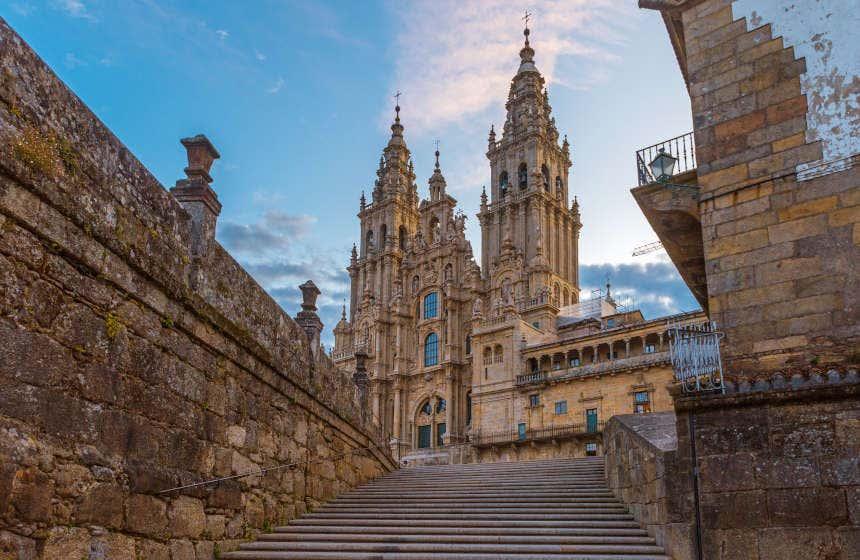 Fachada del Obradoiro de la catedral de Santiago de Compostela.