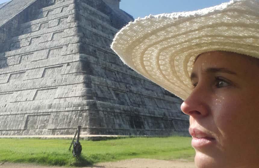 Isabel López en Chichén Itzá, en la península de Yucatán.