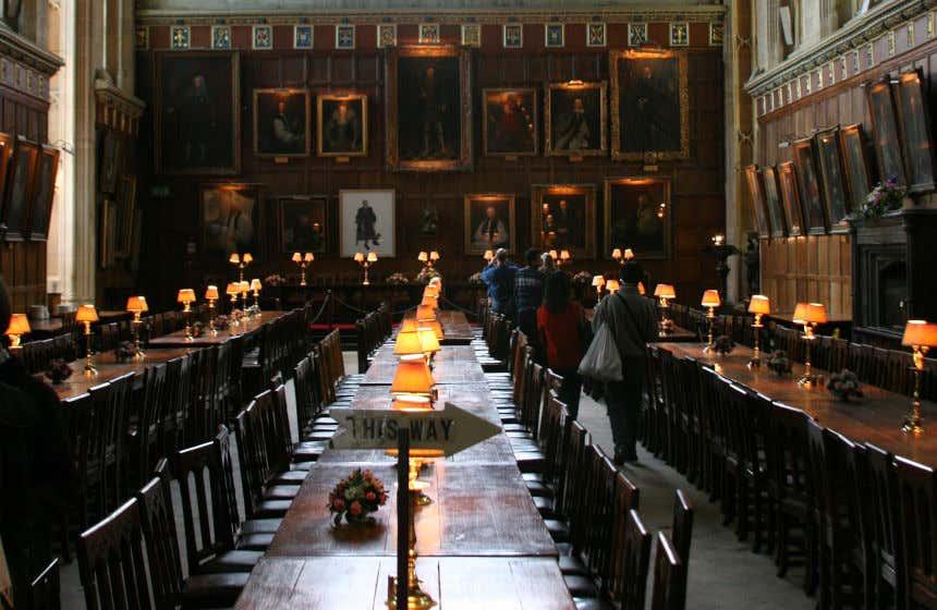 La sala grande del Christ Church College di Oxford