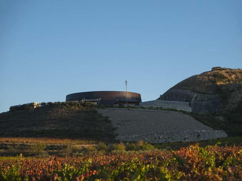 Edificio de las vodegas CNVE y viñedos.