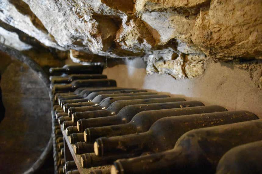Botellas de vino antiguas en las bodegas Lecea