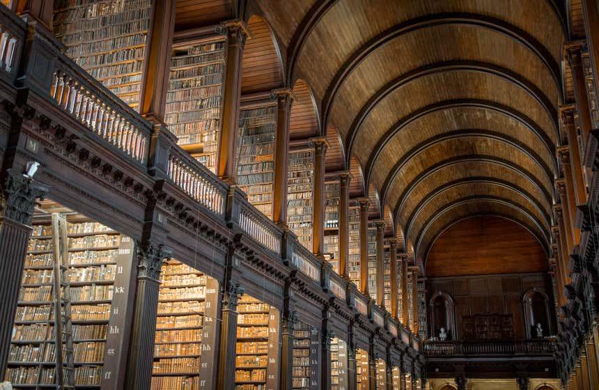 Biblioteca del Trinity College di Dublino, con un ampio soffitto a una volta in legno.