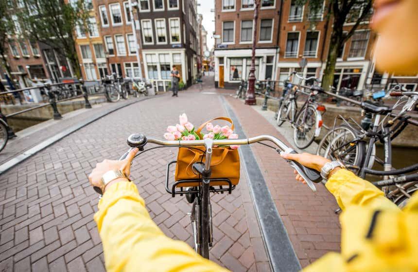 Vista de las manos de una joven subida en una bicicleta atravesando un puente de Ámsterdam.
