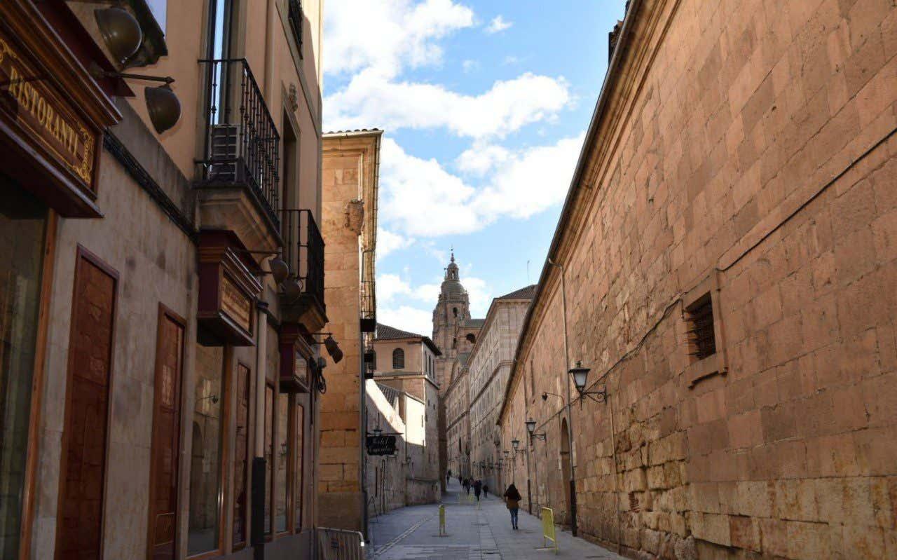 Vistas de la Calle de la Compañía en Salamanca con edificios de fondo y la catedral