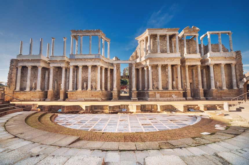 Escenario del teatro romano de Mérida, en Extremadura.
