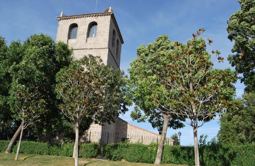 Varios árboles en un primer plano dejan entrever al fondo la torre del centro cultural de Guadarrama.