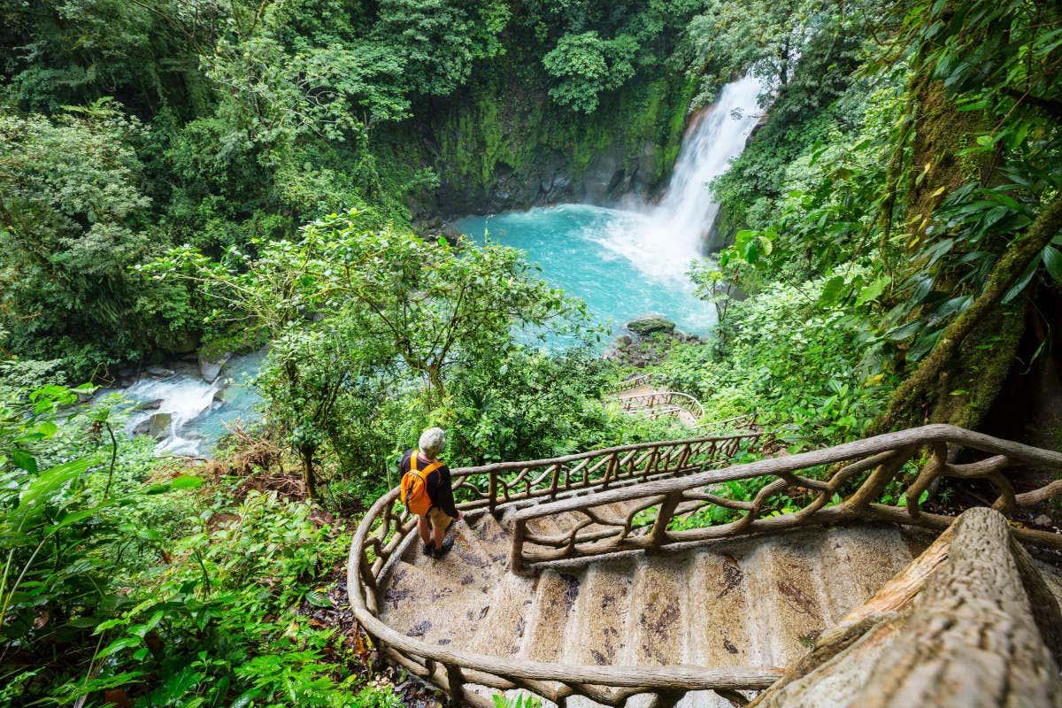 Um homem descendo umas escadas no meio da floresta da Costa Rica