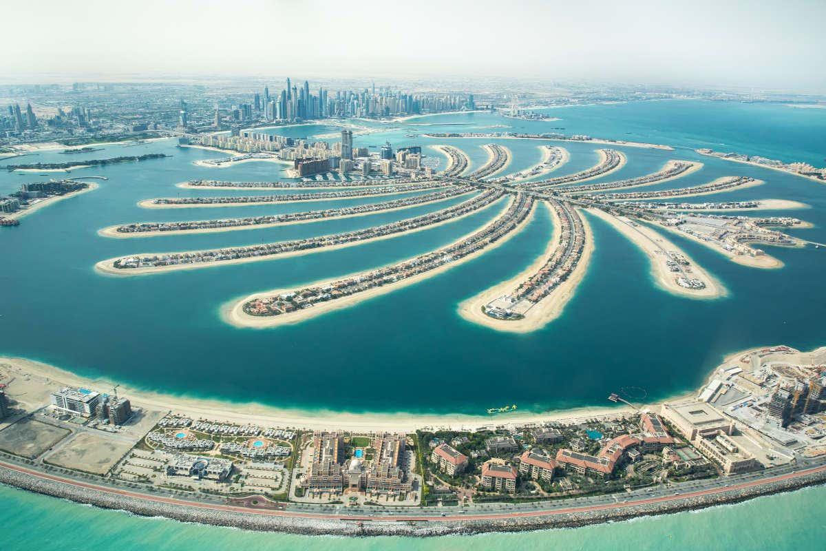 Vista aérea da Palm Jumeirah em Dubai