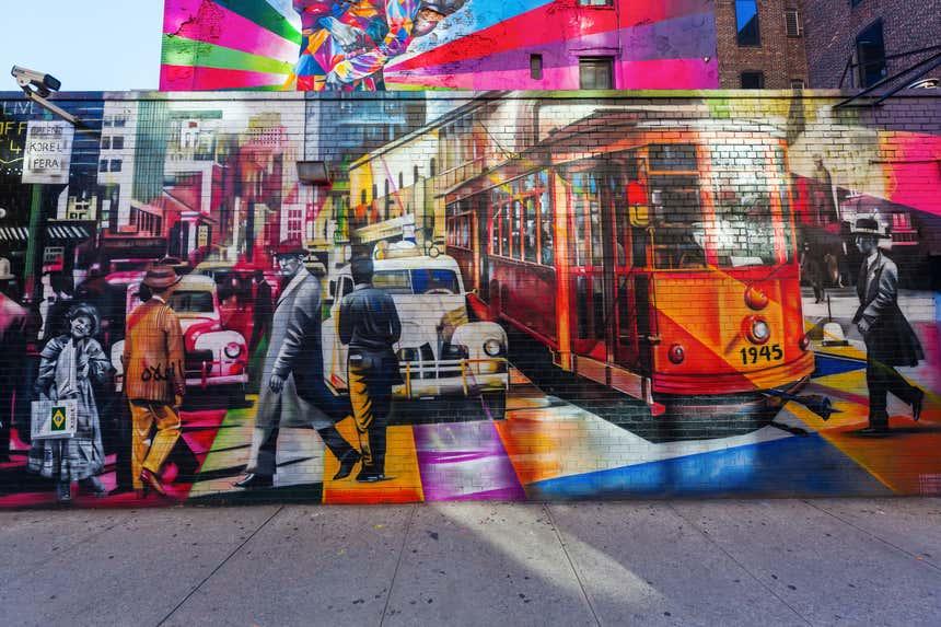 Mural em Nova York retrata a vida na cidade em outra época