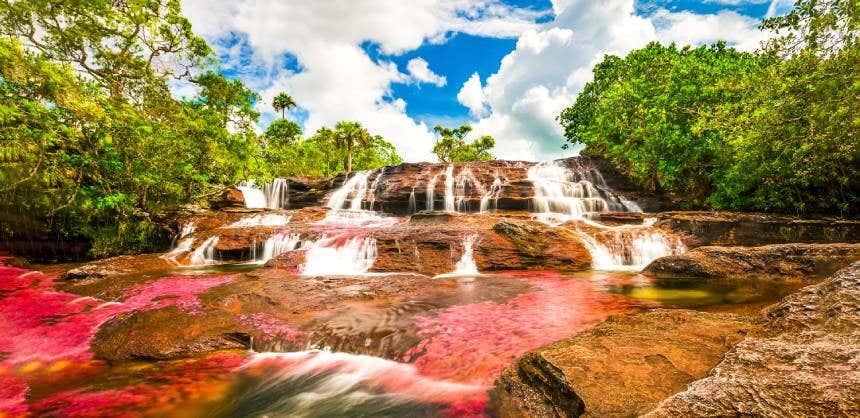 Cascada de Caño Cristales, en la Sierra de la Macarena, Colombia