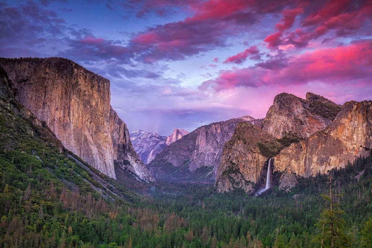 Atardecer en el parque nacional de Yosemite