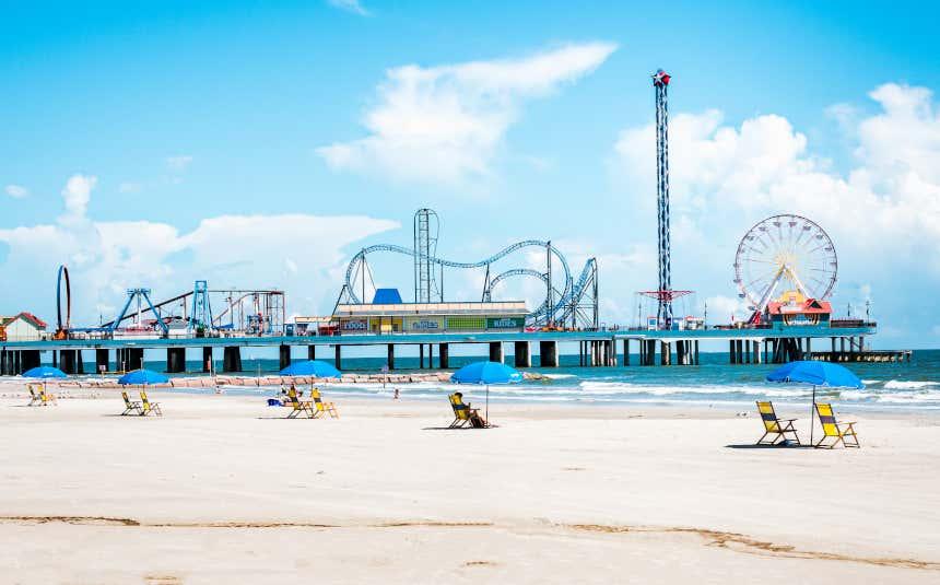 Parque de diversões na ilha de Galveston