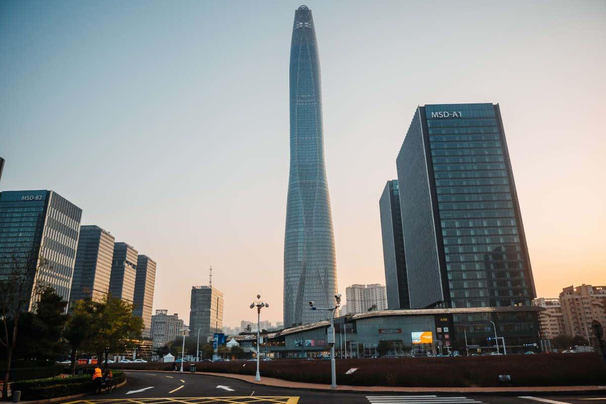 Atardecer en Tianjin CTF Finance Center